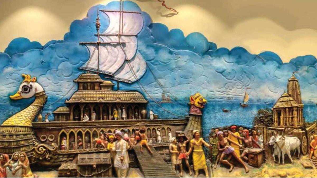 Image at the Entrance of Odisha State Museum, Bhubaneswar representing Kalinga's Maritime History.
